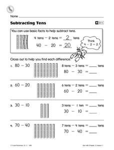 Subtracting Tens Worksheet