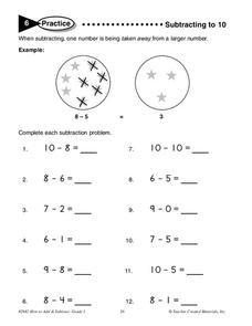 Subtracting To 10 Worksheet
