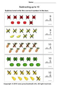 Subtracting Up to 10 Worksheet