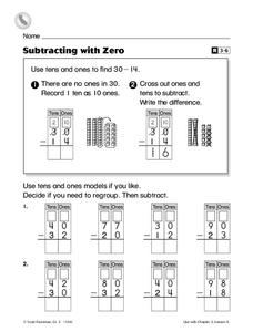 Subtracting with Zero Worksheet