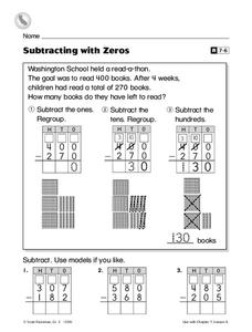 Subtracting With Zeros Worksheet