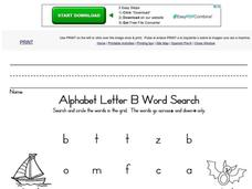 Alphabet Letter B Word Search Worksheet