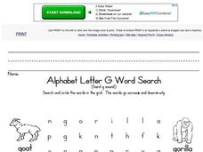 Alphabet Letter G Word Search Worksheet