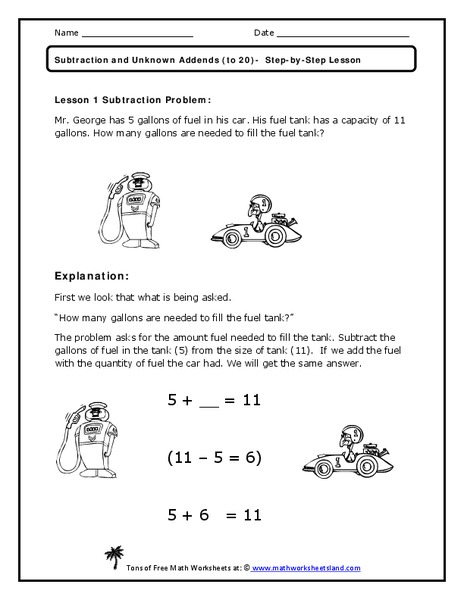 Subtraction and Unknown Addends Worksheet