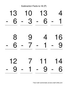 Subtraction Facts To 18 (P) Worksheet