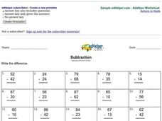 Subtraction Practice #2 Worksheet