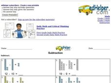 Subtraction with Counters Worksheet