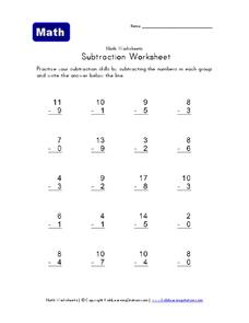 Subtraction Worksheet Worksheet