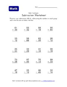 Subtraction Worksheet 4 Worksheet