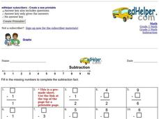 Subtraction: Missing Numbers 2 Worksheet