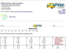 Subtraction: Missing Numbers Worksheet
