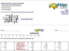 Subtraction: Missing Numbers 3 Worksheet