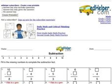 Subtraction: Missing Numbers 4 Worksheet