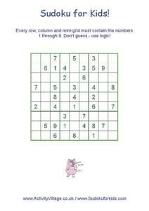 Sudoku for Kids! Worksheet