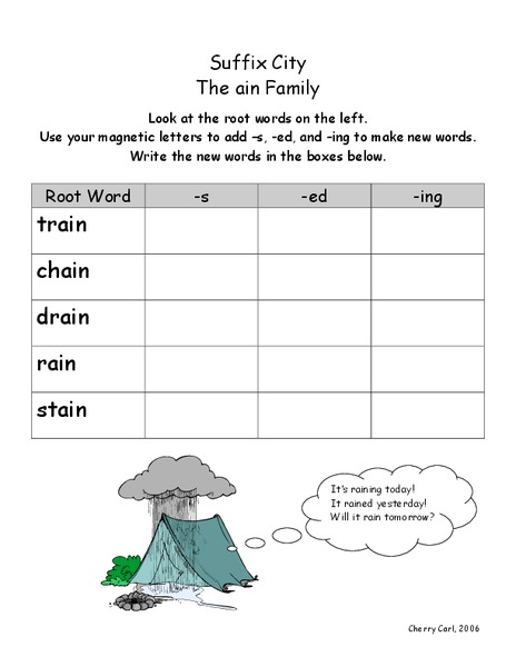 Suffix City Worksheet
