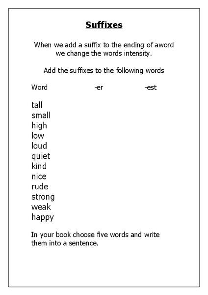 Suffix Er Est Lesson Plans & Worksheets Reviewed by Teachers
