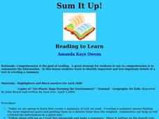 Sum It Up! Lesson Plan