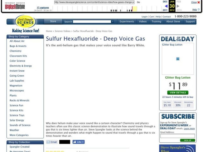 Sulfur Hexafluoride - Deep Voice Gas Video