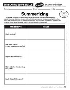 Summarizing Graphic Organizer Worksheet