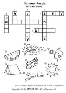 Summer Crossword Puzzle Lesson Plan