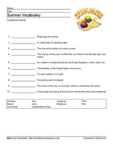 Summer Vocabulary Worksheet