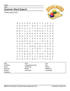 Summer Word Search Worksheet