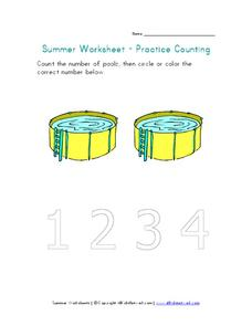 Summer Worksheet - Practice Counting Worksheet