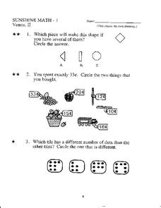 Sunshine Math - 1 Worksheet