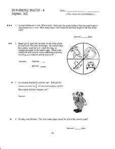 Sunshine Math - 4 Worksheet