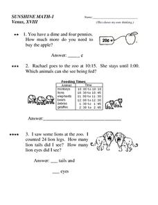 Sunshine Math- 1 Worksheet