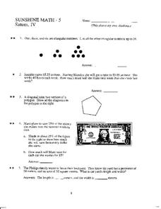 Sunshine Math- 5 Worksheet