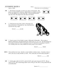 Sunshine Math-4 Worksheet