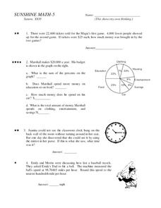 Sunshine Math-5 Worksheet