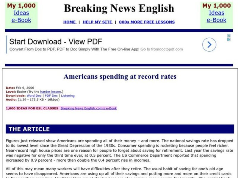 Americans Spending At Record Rates Worksheet