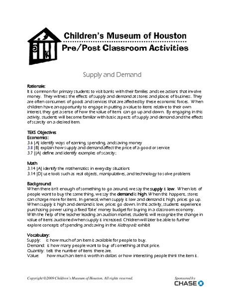 Supply And Demand Lesson Plans Worksheets Lesson Planet