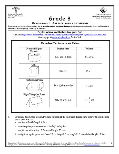 Surface Area And Volume Worksheet For 8th Grade Lesson