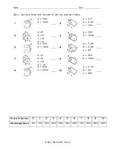 Surface Area and Volume Worksheet