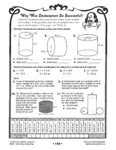 Surface Area of Cylinders Worksheet