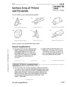 Surface Area of Prisms and Pyramids Worksheet