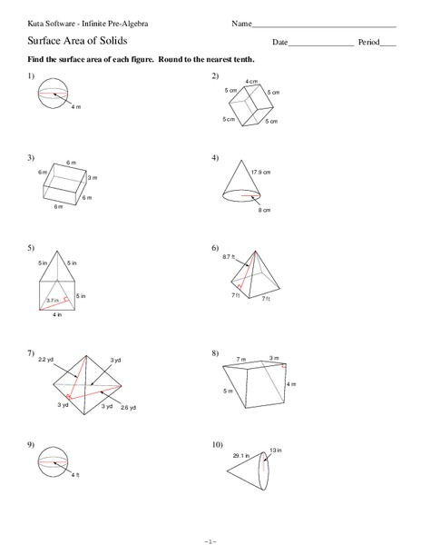 Surface Area of Solids Worksheet for 10th Grade   Lesson ...
