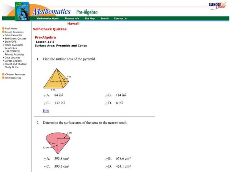 Surface Area: Pyramids and Cones Interactive