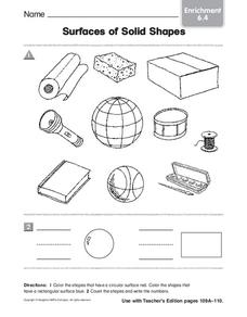 Surfaces of Solid Shapes Worksheet