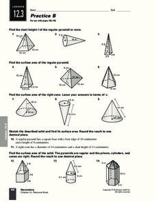Prisms, Pyramids, Cylinders &amp- Cones Surface Area Worksheets | Math ...