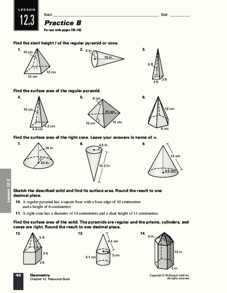 Surface Area of Pyramids and Cones Worksheet for 9th - 12th ...