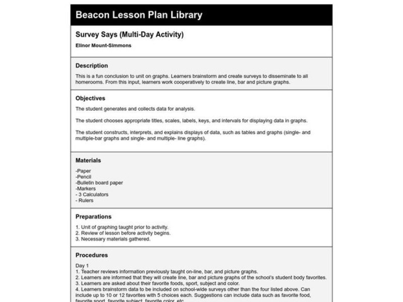 Survey Says... Lesson Plan