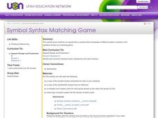 Symbol Syntax Matching Game Lesson Plan