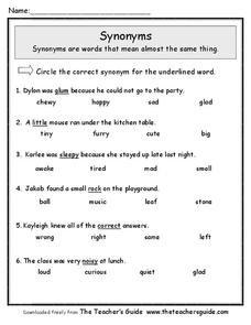 Synonyms Worksheet for 2nd - 4th Grade | Lesson Planet