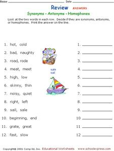 Synonyms - Antonyms - Homophones Worksheet