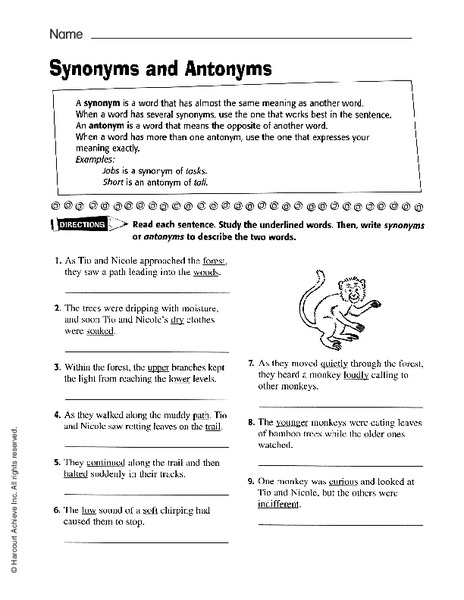 Synonyms And Antonyms Worksheet For 2nd 5th Grade Lesson Planet