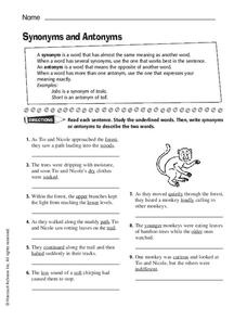 Synonyms and Antonyms Worksheet for 6th - 9th Grade | Lesson